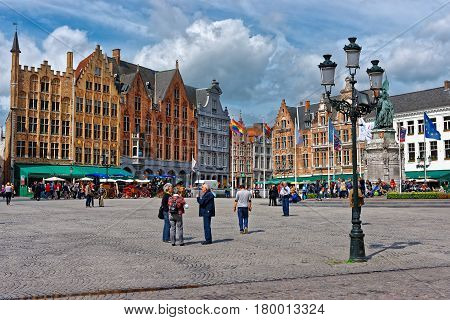 Market Square In Medieval Old City Of Brugge