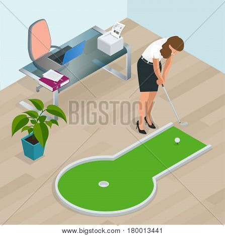 Businesswoman playing mini golf in his office. Perfect for products such as t-shirts, pillows, album covers, websites, flyers, posters or any design.