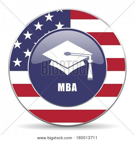 Mba usa design web american round internet icon with shadow on white background.