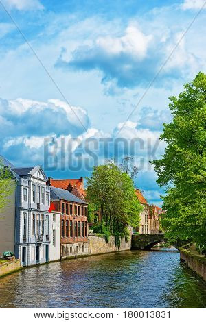 Rozenhoedkaai canal or Rosary Quay in the medieval old city in Bruges Belgium poster
