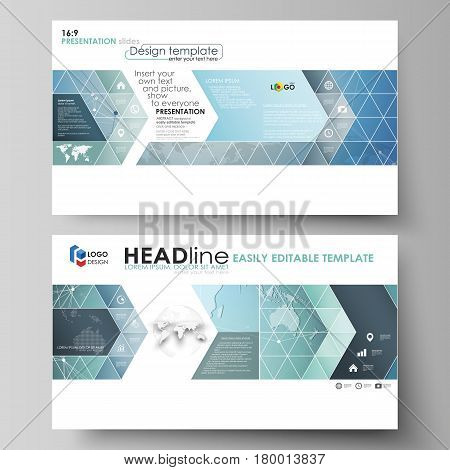 The minimalistic abstract vector illustration of the editable layout of high definition presentation slides design business templates. Chemistry pattern, connecting lines and dots. Medical concept