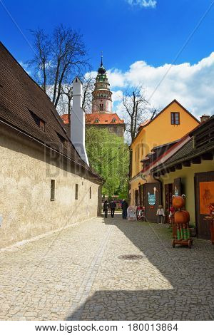 Round Tower Of State Castle In Cesky Krumlov Czech Republic