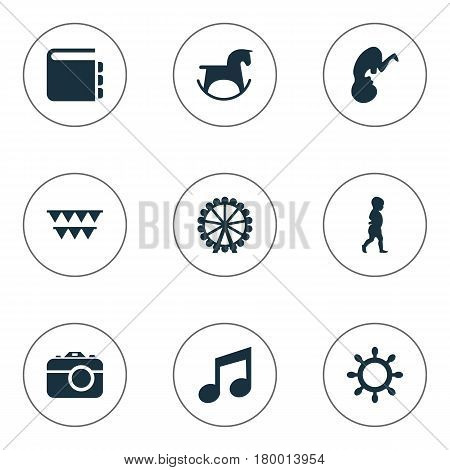 Vector Illustration Set Of Simple Child Icons. Elements Rudder, Fetus, Ferris Wheel And Other Synonyms Fetus, Festival And Direction.