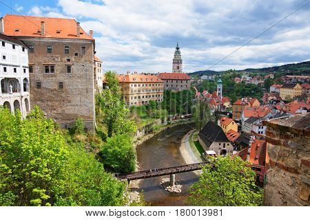 State Castle And Bend Of Vltava River Of Cesky Krumlov
