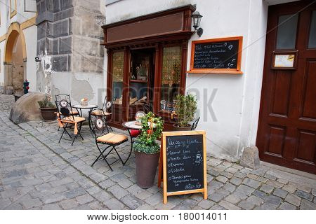 Street Cafe Bar In Old City In Cesky Krumlov