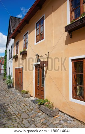 Street In Old Town Center Of Cesky Krumlov