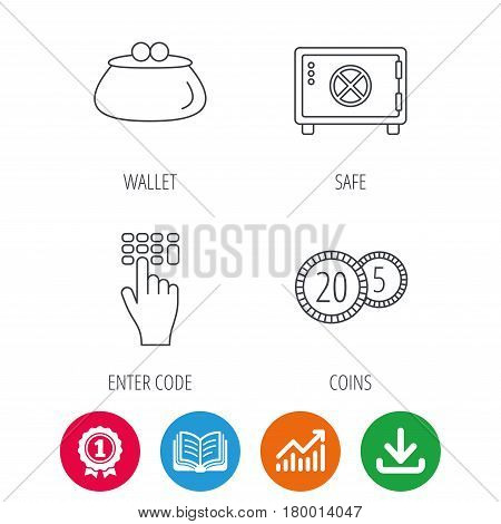 Cash money, safe box and wallet icons. Coins, enter code linear sign. Award medal, growth chart and opened book web icons. Download arrow. Vector