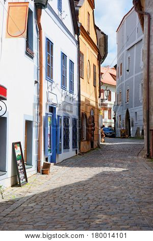 Tight Street In Old City Of Cesky Krumlov