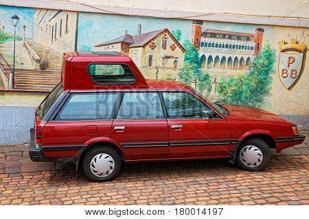Red Car With Pop Top In Baden Baden