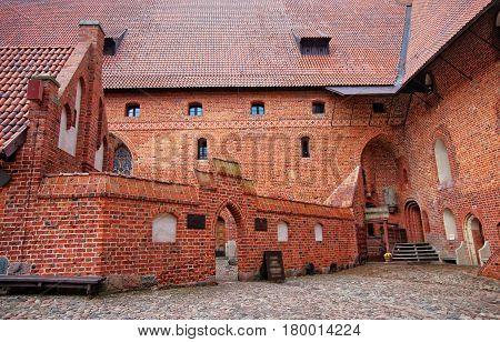Architecture of Malbork Castle also called as Marienburg Teutonic Order at Pomerania of Poland.