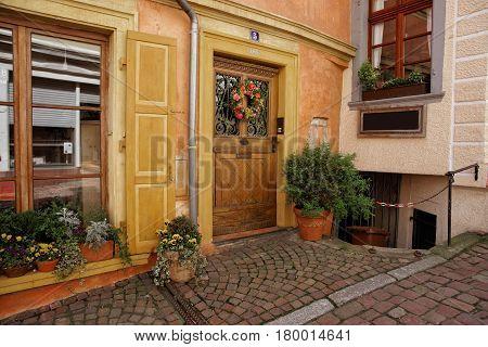 Entrance Door With Flower Wreath At House  In Baden Baden