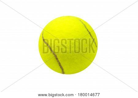 Tennis ball on white background. Isolated tennis ball. Yellow felt ball with brown curve line. Game symbol. Tennis game equipment. Sport gear and active lifestyle symbol. Summer outdoor tournament