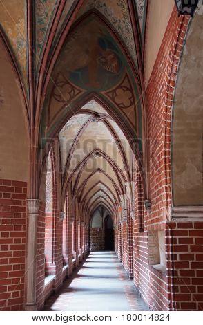 Malbork, Poland - May 8, 2014: Interior of Malbork Castle also called as Marienburg Teutonic Order Pomerania of Poland.