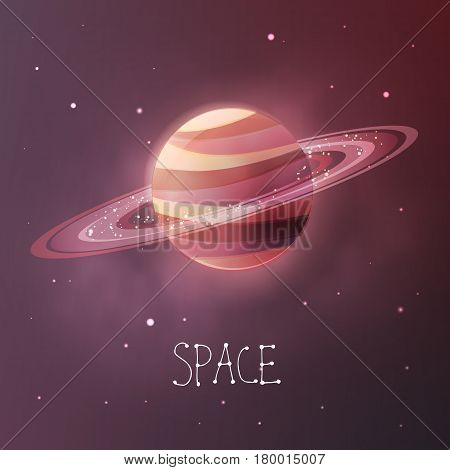 Planet with planetary rings in dull colors. Space vector illustration in modern contemporary design. For card, banner, cover.