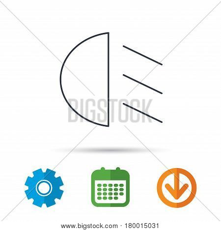 Passing light icon. Dipped beam sign. Calendar, cogwheel and download arrow signs. Colored flat web icons. Vector