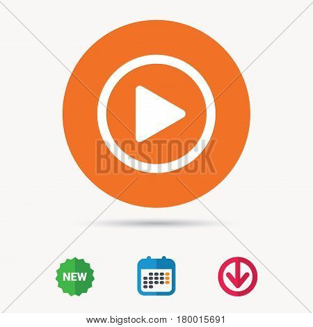 Play icon. Audio or Video player symbol. Calendar, download arrow and new tag signs. Colored flat web icons. Vector