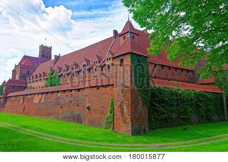 Walls Of Malbork Castle In Poland