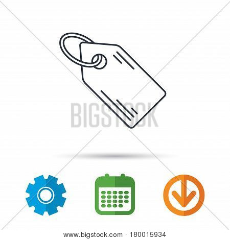 Price tag icon. Discount label sign. Shopping coupon symbol. Calendar, cogwheel and download arrow signs. Colored flat web icons. Vector