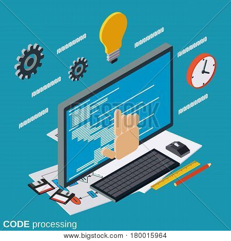 Code processing, program coding, algorithm optimization flat isometric vector concept