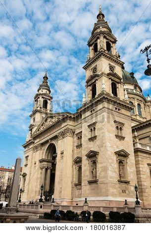 Budapest, Hungary - March 08, 2017: West facade of St. Stephen's Basilica, the roman catholic church in neoclassical style that completed in 1905