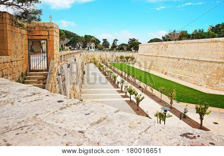 Mdina Walls At Fortified Old City Malta
