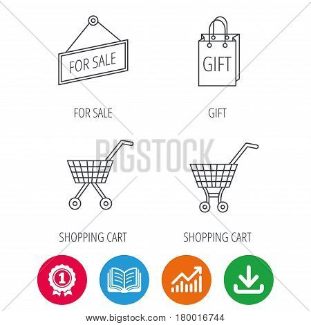 Shopping cart, gift bag and sale icons. For sale linear sign. Award medal, growth chart and opened book web icons. Download arrow. Vector