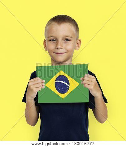 Boy Hands Hold Brazil Flag Patriotism