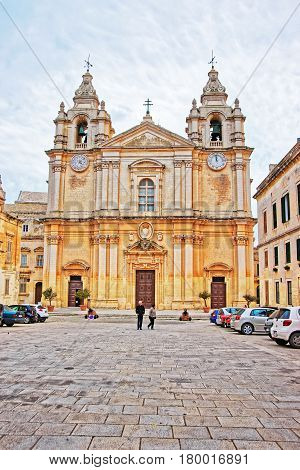 People At Saint Paul Cathedral In Mdina In Malta