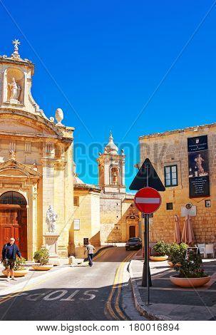 People At Saint Paul Church In Rabat Malta