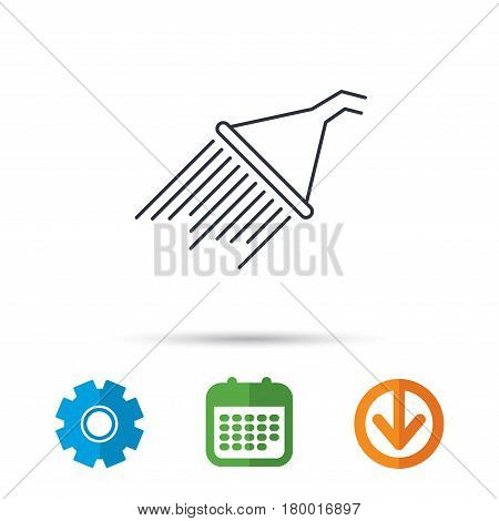 Shower icon. Washing equipment sign. Calendar, cogwheel and download arrow signs. Colored flat web icons. Vector