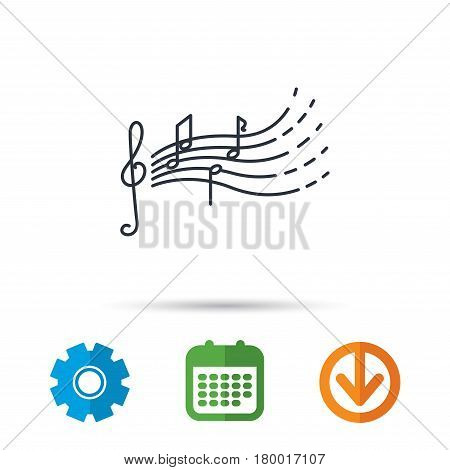 Songs for kids icon. Musical notes, melody sign. G-clef symbol. Calendar, cogwheel and download arrow signs. Colored flat web icons. Vector