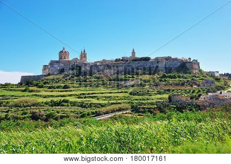 Skyline Of Mdina With St Paul Cathedral