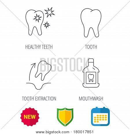 Tooth, mouthwash and healthy teeth icons. Tooth extraction linear sign. Shield protection, calendar and new tag web icons. Vector