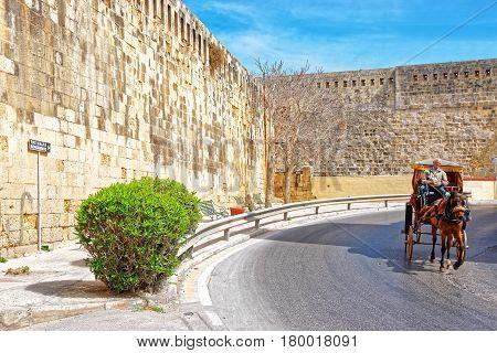 Horse Carriage At St Elmo Fort Of Valletta Malta