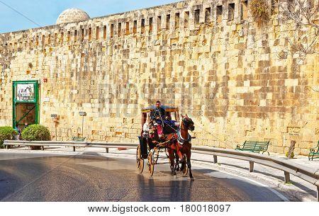 Horse Fiacre At Saint Elmo Fort In Valletta Malta