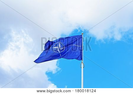 Nato Flag Waving By Wind