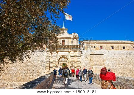 People At Mdina Gate And Entrance In Old City Malta