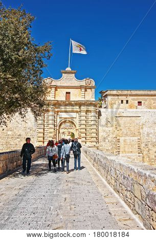 People At Mdina Gate And Entrance Into Old City Malta