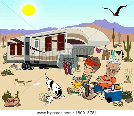 Camping cartoon with a large fifth wheel in the desert, an older couple relaxing in lawn chairs with drinks, with lots of desert animals, cacti, and a sunny sky and mountains in the background.
