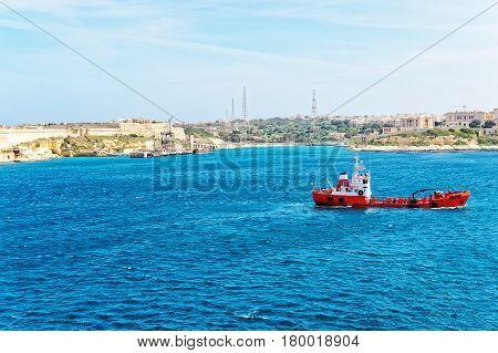 Dry Cargo Vessel At Grand Harbor In Valletta  Malta