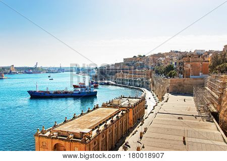 Dry Cargo Vessel At Valletta Waterfront Of Grand Harbor