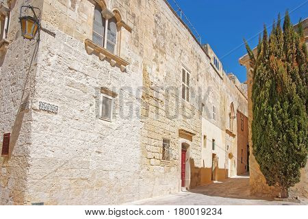 Narrow Street With Lantern At Mdina Old Town