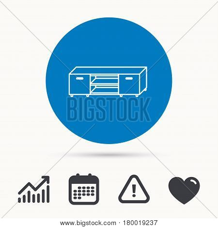TV table stand icon. Television furniture sign. Calendar, attention sign and growth chart. Button with web icon. Vector