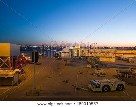 Toronto, Canada - March 04, 2017: View Of Pearson Airport In Toronto At Sunset, Canada. Pearson Is T