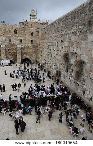 Jerusalem, Israel - March 02, 2017: The Western Wall In Jerusalem