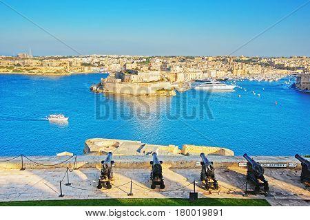 Saluting Battery At Grand Harbor In Valletta In Malta