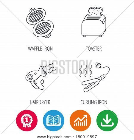 Curling iron, hair-dryer and toaster icons. Waffle-iron linear sign. Award medal, growth chart and opened book web icons. Download arrow. Vector