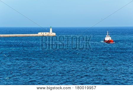 Ship At Breakwaters Of St Elmo At Grand Harbor Valletta