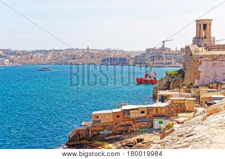 Ship At Siege Bell Memorial At Christopher Bastion Valletta Malta