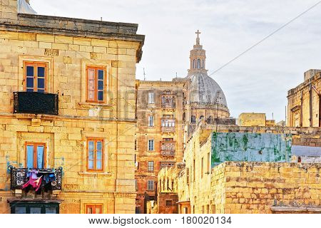 Street View Of Basilica Of Our Lady Mount Carmel Valletta